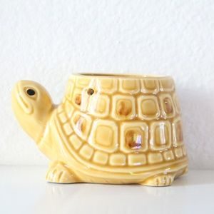Vintage Ceramic Yellow Turtle Planter Decor Accent